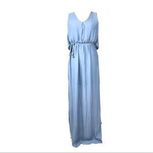Zara dress flowy maxi blue Greek goddess tie xs